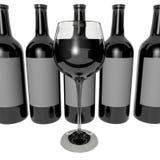 Vidro do vinho e da garrafa Foto de Stock Royalty Free