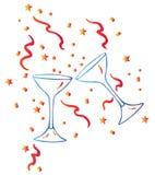 Vidro e estrelas de vinho Ilustração Royalty Free