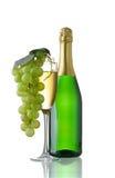 Vidro e frasco de Champagne imagem de stock