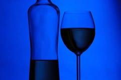 Vidro e frasco de vinho fotografia de stock royalty free