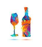 Vidro e frasco de vinho ilustração royalty free