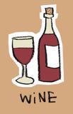 Vidro e frasco do vinho vermelho Imagens de Stock
