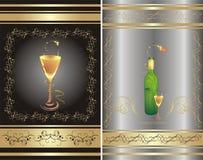 Vidro e frasco. Dois fundos decorativos Imagens de Stock Royalty Free