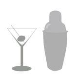 Vidro e misturador de cocktail Foto de Stock