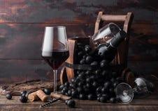 Vidro elegante do vinho tinto com uvas e a garrafa escuras do vinho dentro do tambor de madeira do vintage no fundo de madeira es fotos de stock royalty free
