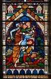 Vidro manchado na igreja da catedral do santamente Fotografia de Stock