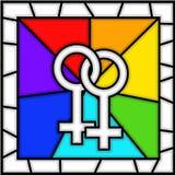 Vidro manchado: símbolo LGBT da lésbica Fotografia de Stock
