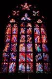 Vidro manchado Windows da catedral do St. Vitus Imagens de Stock