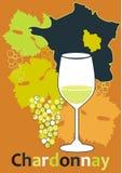 vidro para o vinho francês branco - Chardonnay ilustração royalty free