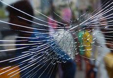 Vidro quebrado do protetor da janela fotografia de stock royalty free