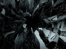 Vidro quebrado ou demulido sobre o fundo preto Imagem de Stock Royalty Free