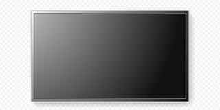 Vidro transparente do painel da televisão do preto liso do vetor do fundo da tela da tevê do LCD Foto de Stock