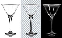 Vidro transparente para martini Em Backg branco e preto Fotos de Stock