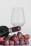 vidro, uma garrafa do vinho e algumas uvas Foto de Stock