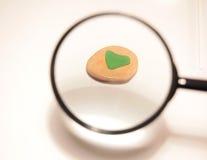 Vidro verde de ampliação Imagens de Stock