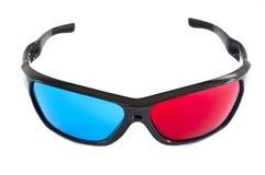 vidros 3D em vermelho e no azul no fundo branco Fotografia de Stock Royalty Free