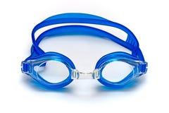 Vidros azuis para a nadada no fundo branco Fotografia de Stock Royalty Free