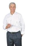 Vidros brancos desgastando da terra arrendada da camisa do homem de negócios Imagens de Stock Royalty Free