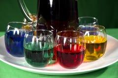 Vidros com bebidas coloridas Foto de Stock Royalty Free