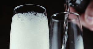 Vidros com bolhas do champanhe no fundo escuro vídeos de arquivo