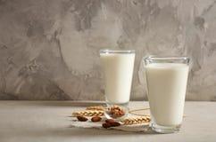 Vidros com leite e porcas foto de stock