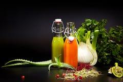 Vidros com os sucos do legume fresco isolados no preto detox Imagem de Stock