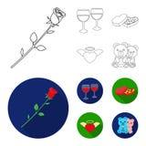 Vidros com vinho, corações do chocolate, ursos, Valentim Ícones ajustados da coleção de Romantik no esboço, símbolo liso do vetor Imagens de Stock