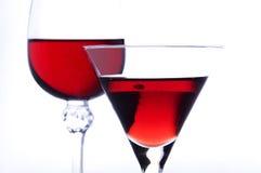 Vidros com vinho vermelho Imagem de Stock