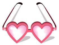Vidros cor-de-rosa do Valentim ilustração royalty free