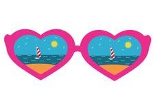vidros Cor-de-rosa-orlarados com um coração, praia refletindo ilustração stock