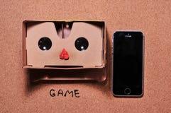 vidros 3D para o jogo no telefone celular foto de stock