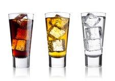 Vidros da cola e da água gasosa da bebida da energia Imagem de Stock Royalty Free