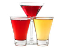 Vidros da cor de Martini Fotografia de Stock