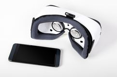 Vidros da realidade virtual Forma facil olhar filmes em 3D Imagem de Stock