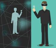 vidros da realidade virtual a um homem, um espaço virtual Fotos de Stock