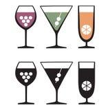Vidros das bebidas, ícones Ilustração do Vetor