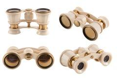 Vidros de ópera do marfim em todas as vistas no fundo branco Imagens de Stock Royalty Free