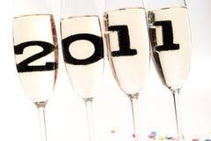 Vidros de Champagne com vinho sparkling em 2011 V4 Fotografia de Stock Royalty Free