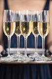 Vidros de Champagne e bandeja de prata fotografia de stock royalty free
