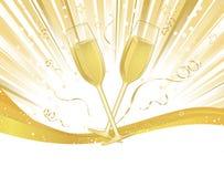 Vidros de Champagne no estouro da luz Fotos de Stock