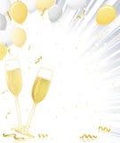 Vidros de Champagne no estouro da prata Imagens de Stock