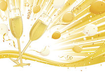 Vidros de Champagne no fundo da onda Fotografia de Stock Royalty Free