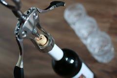 Vidros de garrafa do Corkscrew Foto de Stock