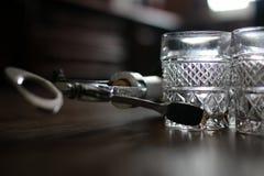 Vidros de garrafa do Corkscrew Imagens de Stock Royalty Free