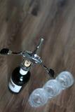 Vidros de garrafa do Corkscrew Fotos de Stock Royalty Free