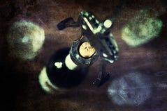 Vidros de garrafa gastos retros do corkscrew da imagem Foto de Stock Royalty Free