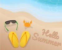 Vidros de sol verdes, sandálias amarelas, caranguejo alaranjado e olá! verão na areia com o tom azul da onda na praia Foto de Stock