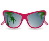 Vidros de Sun com reflexão das palmeiras ilustração royalty free