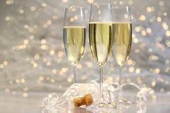 Vidros de Threes do champanhe Fotografia de Stock