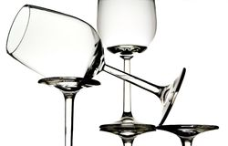 Vidros de vinho branco vazios Foto de Stock Royalty Free
